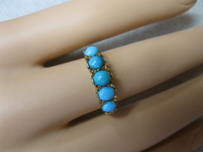 Persian Turquoise Ring 18K Wedding Engagement Ring Antique Estate Jewelry