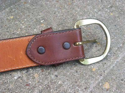 mens used brown thick leather belt 34 ebay