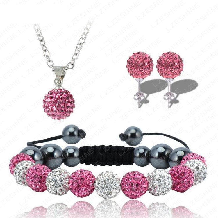 Fashion Crystal Balls Shambala Jewelry Shamballa Bracelet&Earring&Necklace Sets