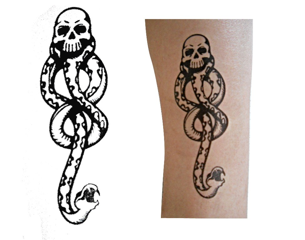 1pc Harry Potter Dark Mark Death Eater Temporary TATTOO. Please wait