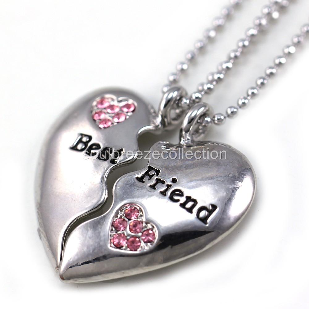 best friends forever bff light pink two pendant