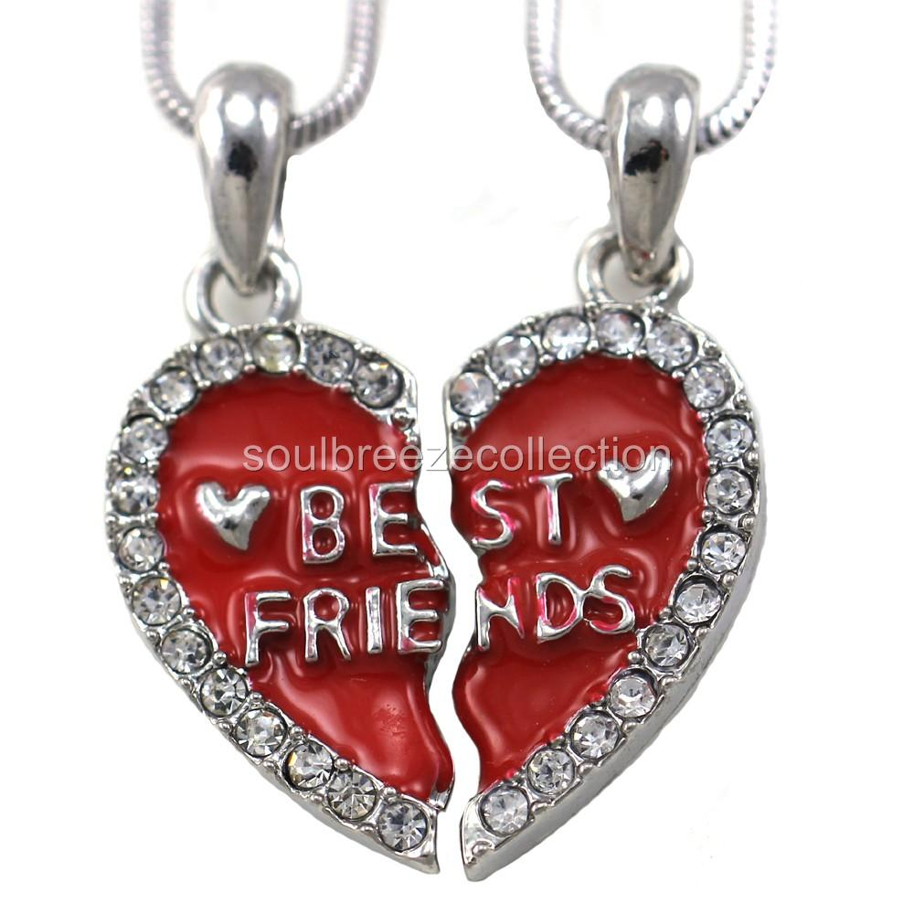 Details about Best Friends Forever BFF Love Heart Two Pendant Necklace ...