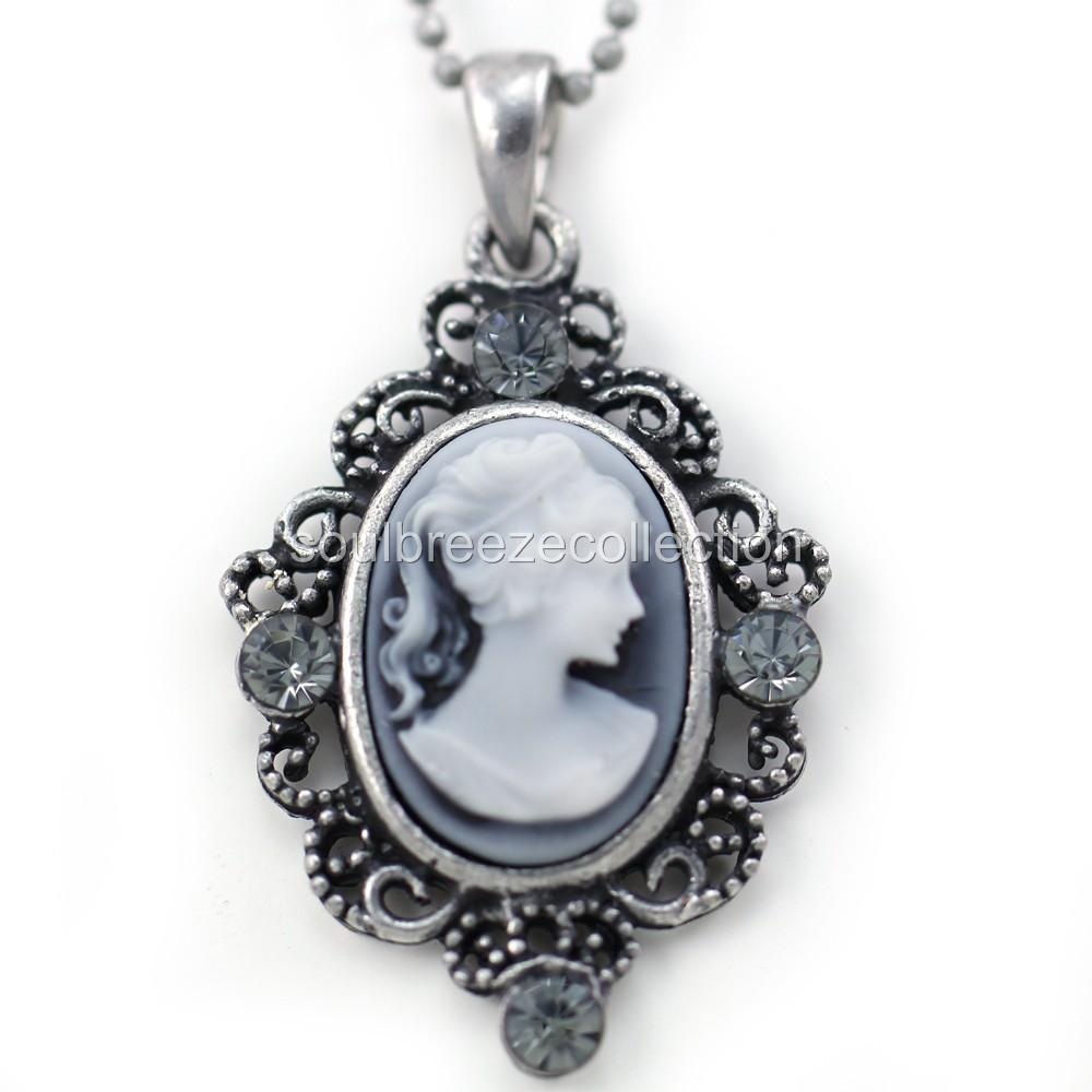 Small Cute Light Gray White Cameo Pendant Necklace Charm