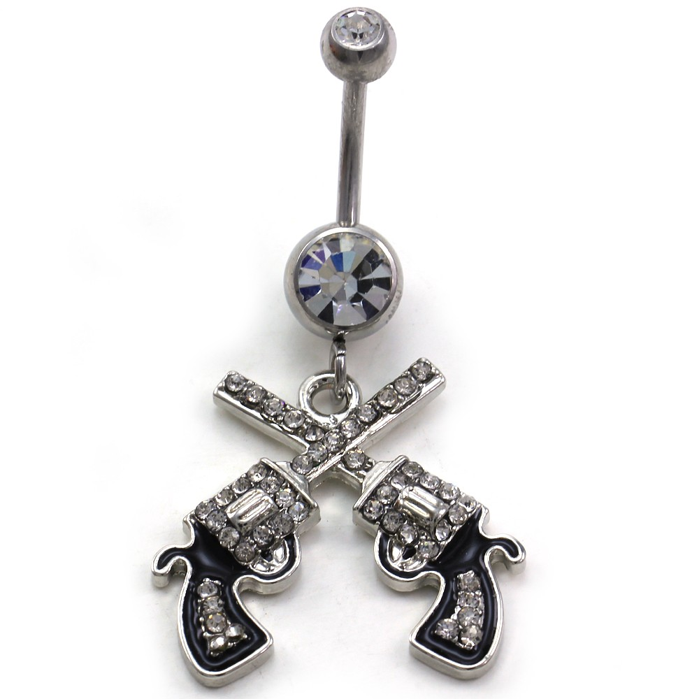 Western cowgirl revolver pistol gun dangle belly button for Belly button jewelry store