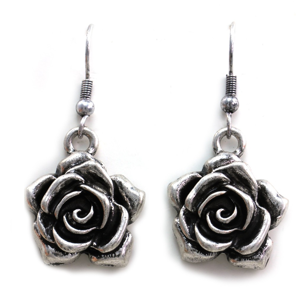 vintage antique style rose flower dangle earrings silver