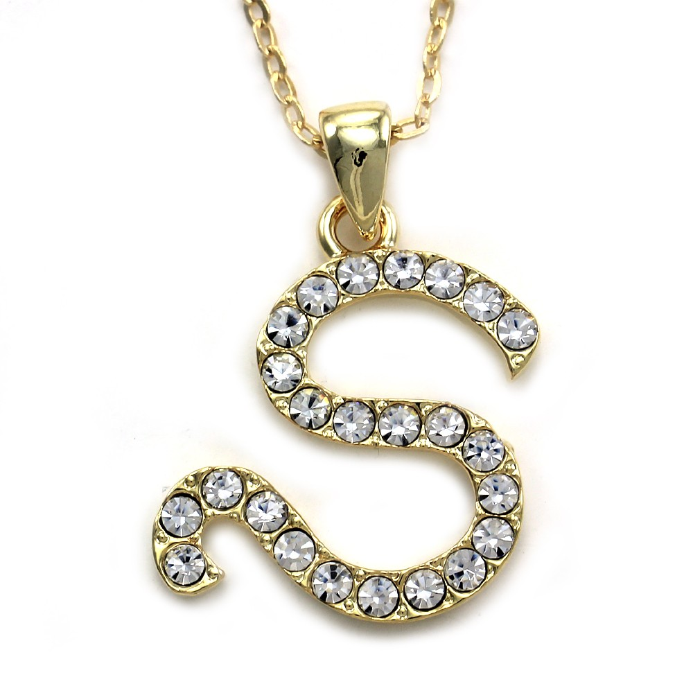 New initial alphabet letter s pendant necklace high polish for Letter s necklace gold