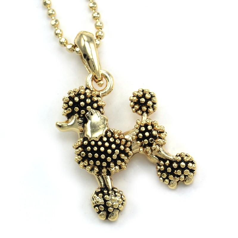 black poodle pendant necklace gold tone animal pet