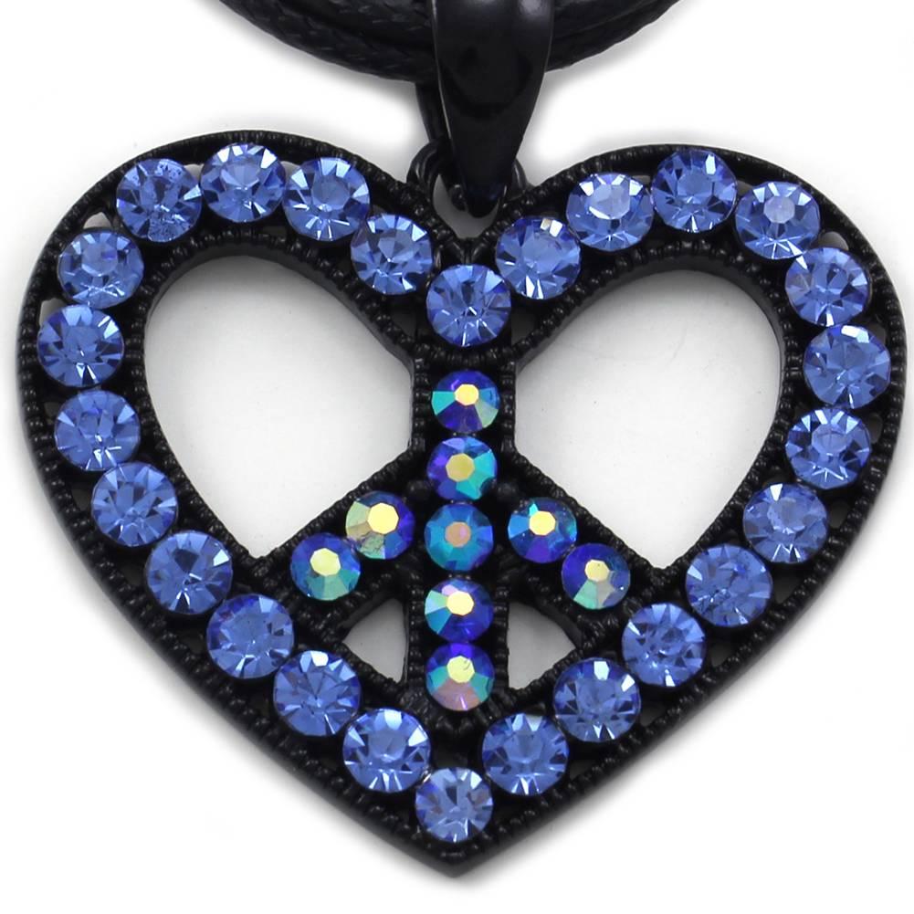 blue peace sign symbol heart charm pendant necklace