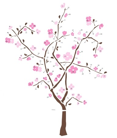JAPANESE CHERRY BLOSSOM TREE WALL DECALS Deco Stickers 034878467207