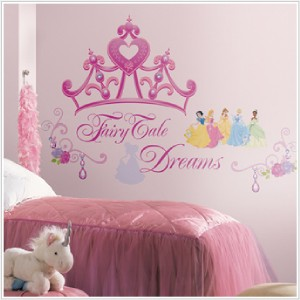 DISNEY PRINCESSES CROWN WALL STICKERS Pink Decals Decor 034878827605