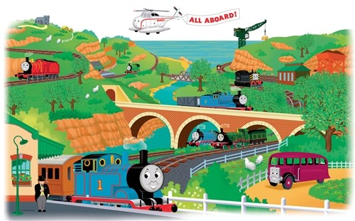 new giant thomas the tank engine peel and stick wall decal. Black Bedroom Furniture Sets. Home Design Ideas