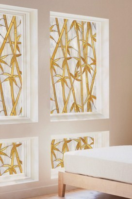 New Bamboo Privacy Stained Glass Decorative Window Film