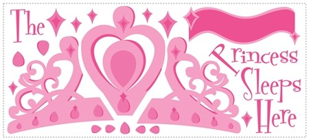 New THE PRINCESS SLEEPS HERE WALL DECALS Baby Girls Stickers Pink