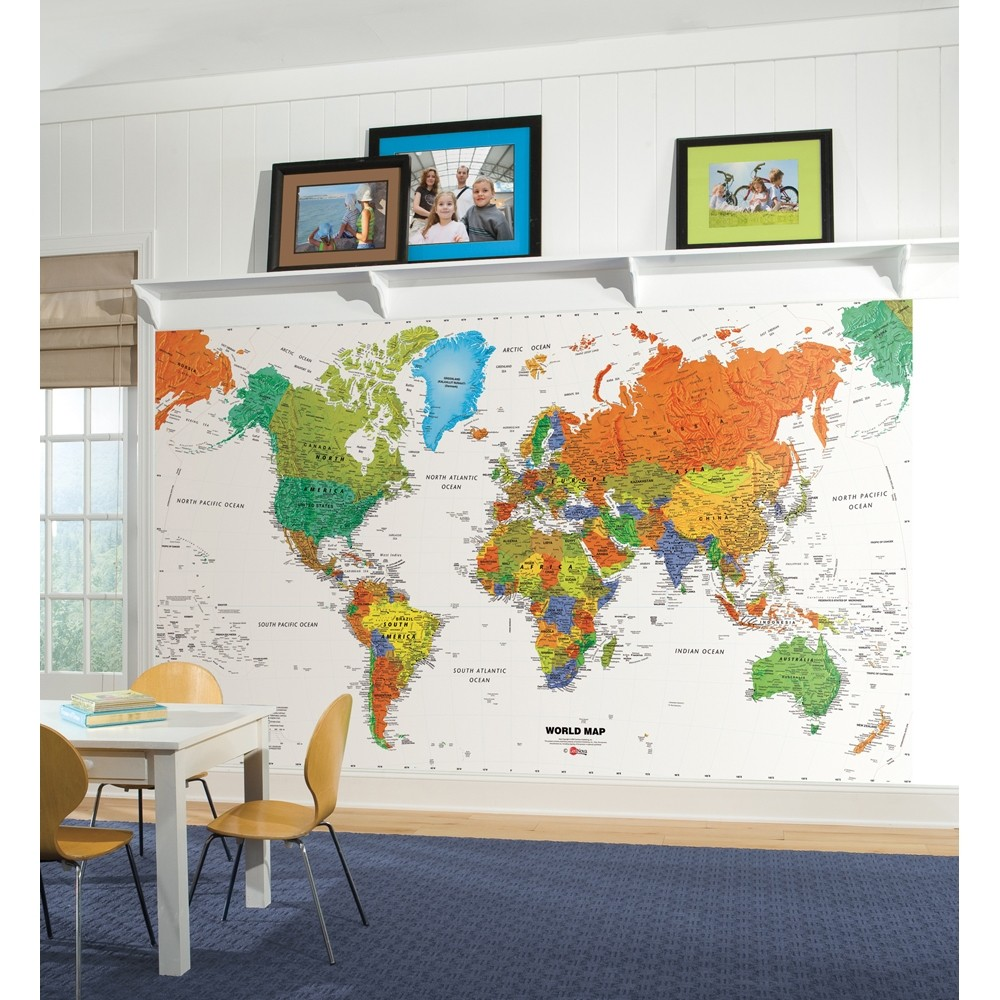 new world map prepasted wallpaper mural kids room decor