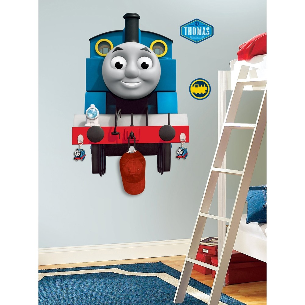 new giant thomas the tank engine wall decal w hooks boys. Black Bedroom Furniture Sets. Home Design Ideas
