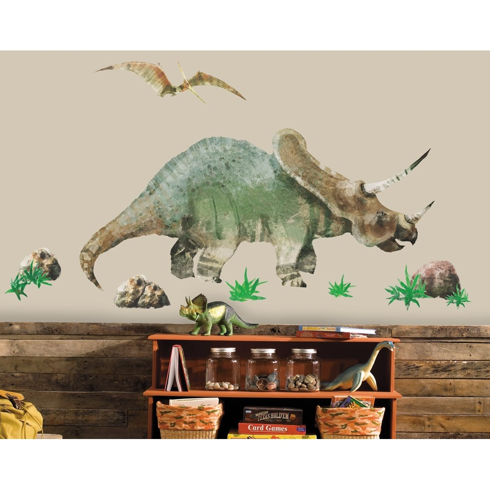 giant triceratops dinosaur wall decals dinosaurs room