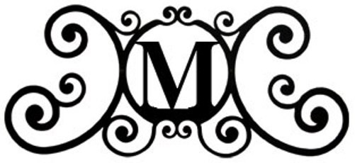 New black wrought iron monogram letter over the door house