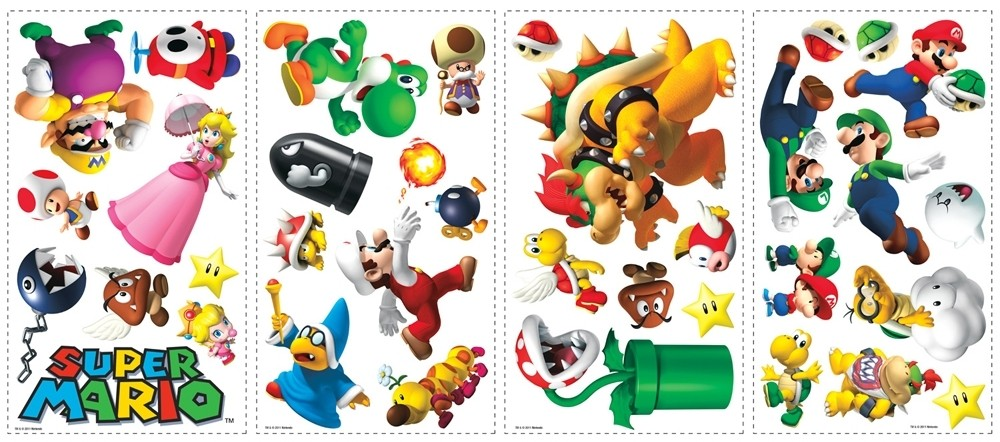 35 new nintendo super mario wall stickers kids decals decor bedroom decorations ebay - Super mario giant wall decals ...