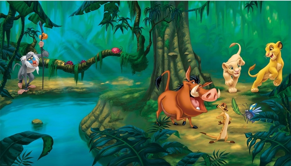New xl lion king wall mural disney wallpaper decor lions for Decoration murale jungle