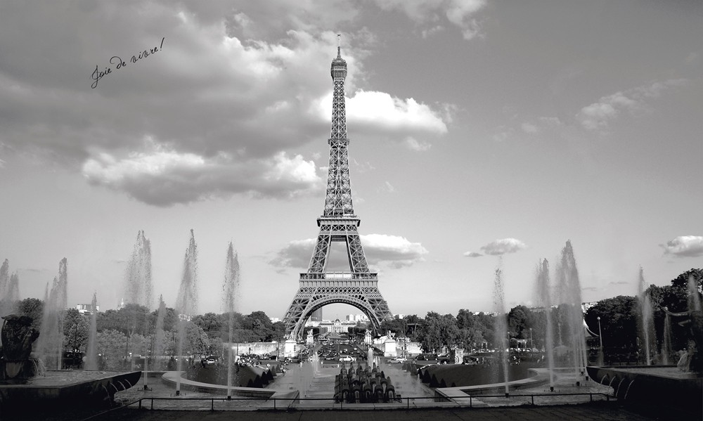 New xl black and white eiffel tower wall mural paris for Eiffel tower wall mural black and white