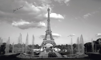 New xl black and white eiffel tower wall mural paris for Black and white paris wall mural