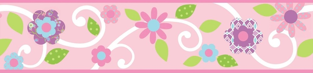 Stick PINK FLORAL SCROLL WALLPAPER BORDER Baby Girl Nursery Wall DecorBaby Girl Borders