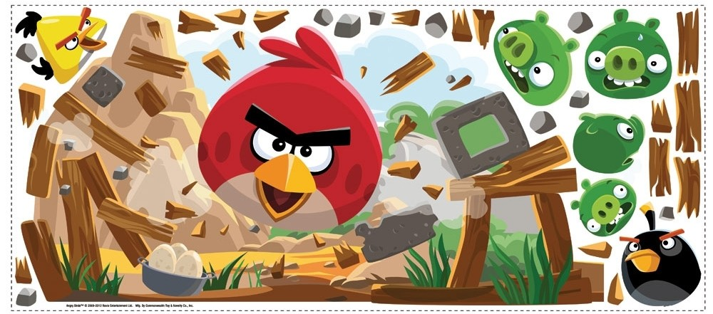 New large angry birds wall decals giant bedroom stickers for Angry bird wall mural