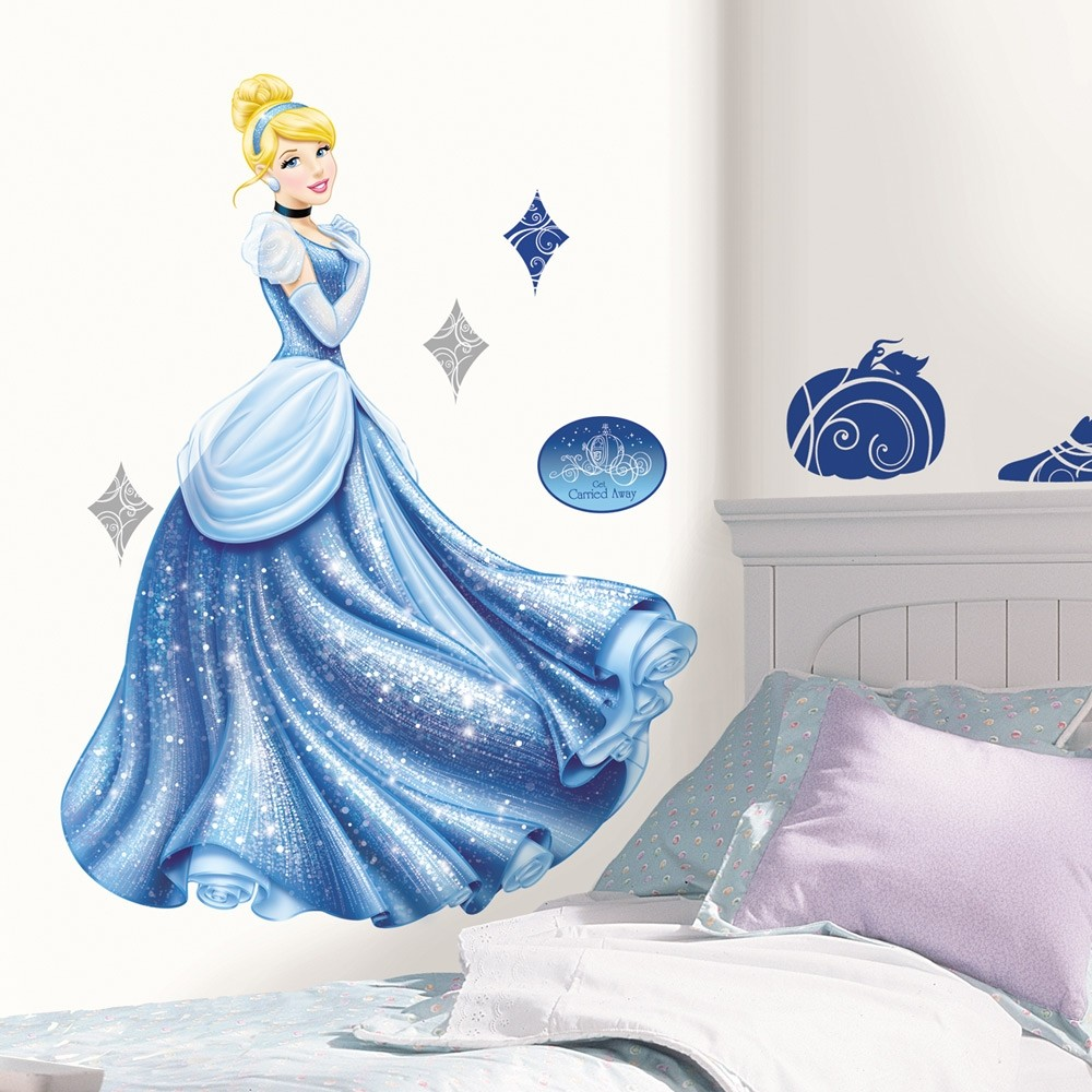 Giant cinderella glamour wall decals disney princess for Disney princess mural stickers