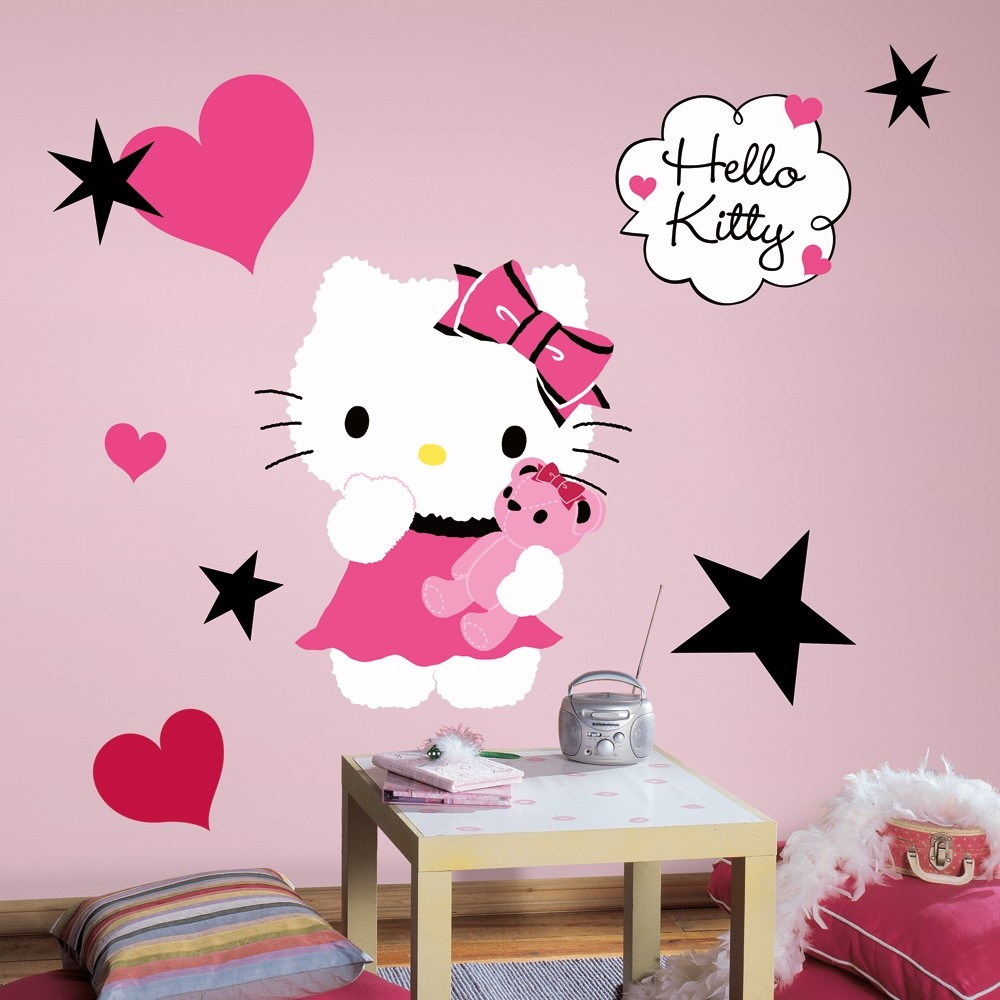 New large hello kitty couture wall decals girls bedroom for Room decor wall