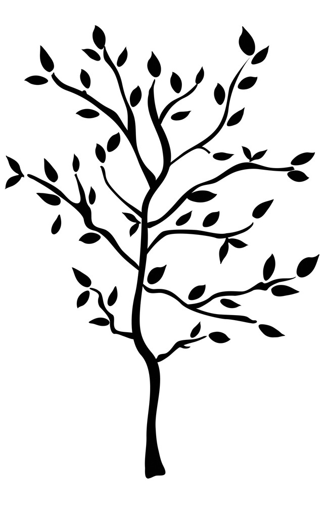 New black tree mural wall decals leaves branches for Black tree wall mural