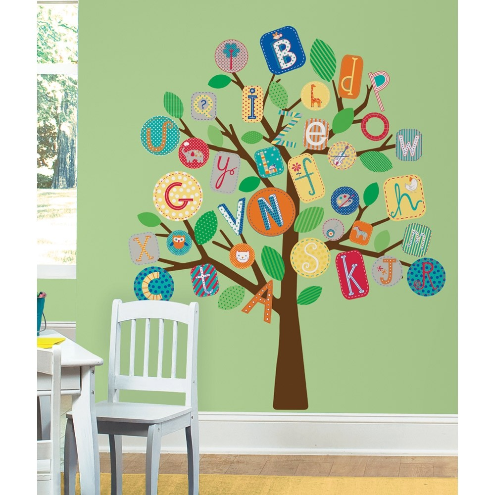 New giant alphabet tree wall decals mural baby nursery or for Baby nursery tree mural