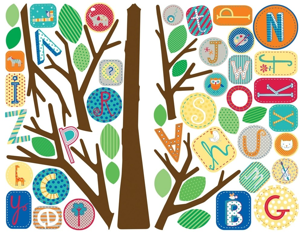 New giant alphabet tree wall decals mural abc trees baby for Alphabet wall mural