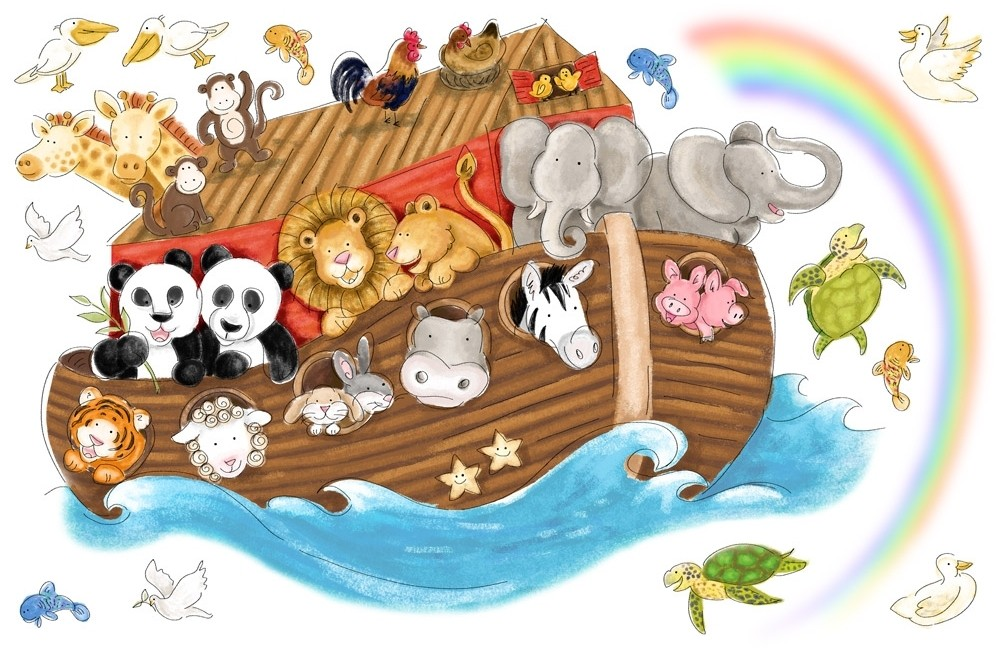 New large noah 39 s ark wall decals baby nursery noahs arc for Animals decoration games