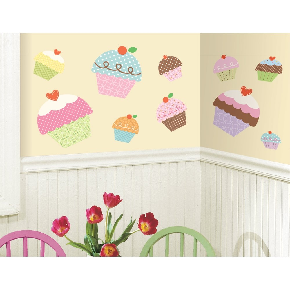 New large cupcakes wall stickers girls bedroom baby for Cupcake wall art