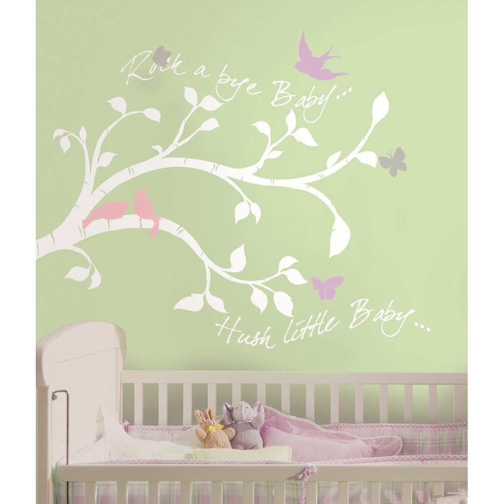 New white tree branches wall decals baby girl or boy for Baby nursery wall decoration