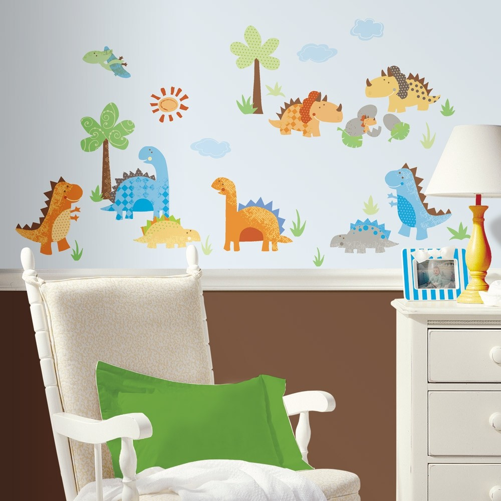 Wall Designs For Toddler Rooms : New dinosaurs wall decals dinosaur stickers kids bedroom