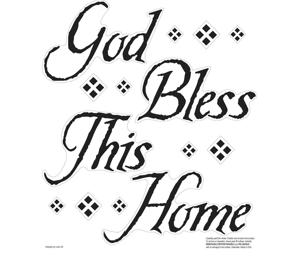 New Black God Bless This Home Wall Decals Quotes Stickers Room ...
