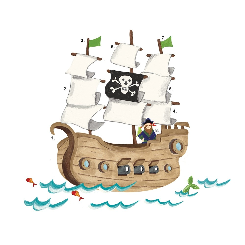 New giant pirate ship wall decals boys baby nursery for Childrens pirate bedroom ideas