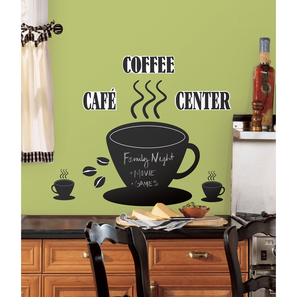New large coffee cup chalkboard wall decals kitchen for Black kitchen wall decor