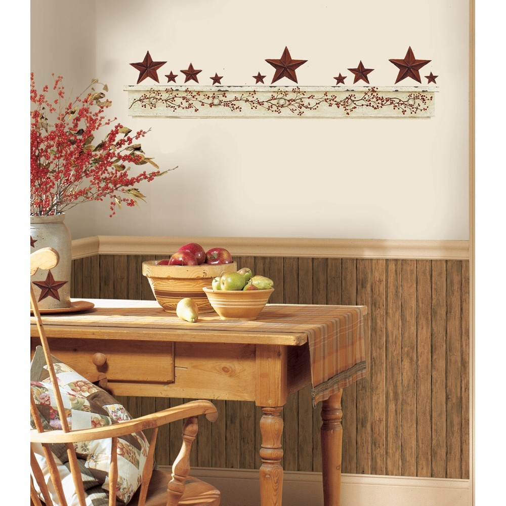 New Primitive Arch Wall Decals Country Kitchen Stars Berries Stickers Decor Ebay