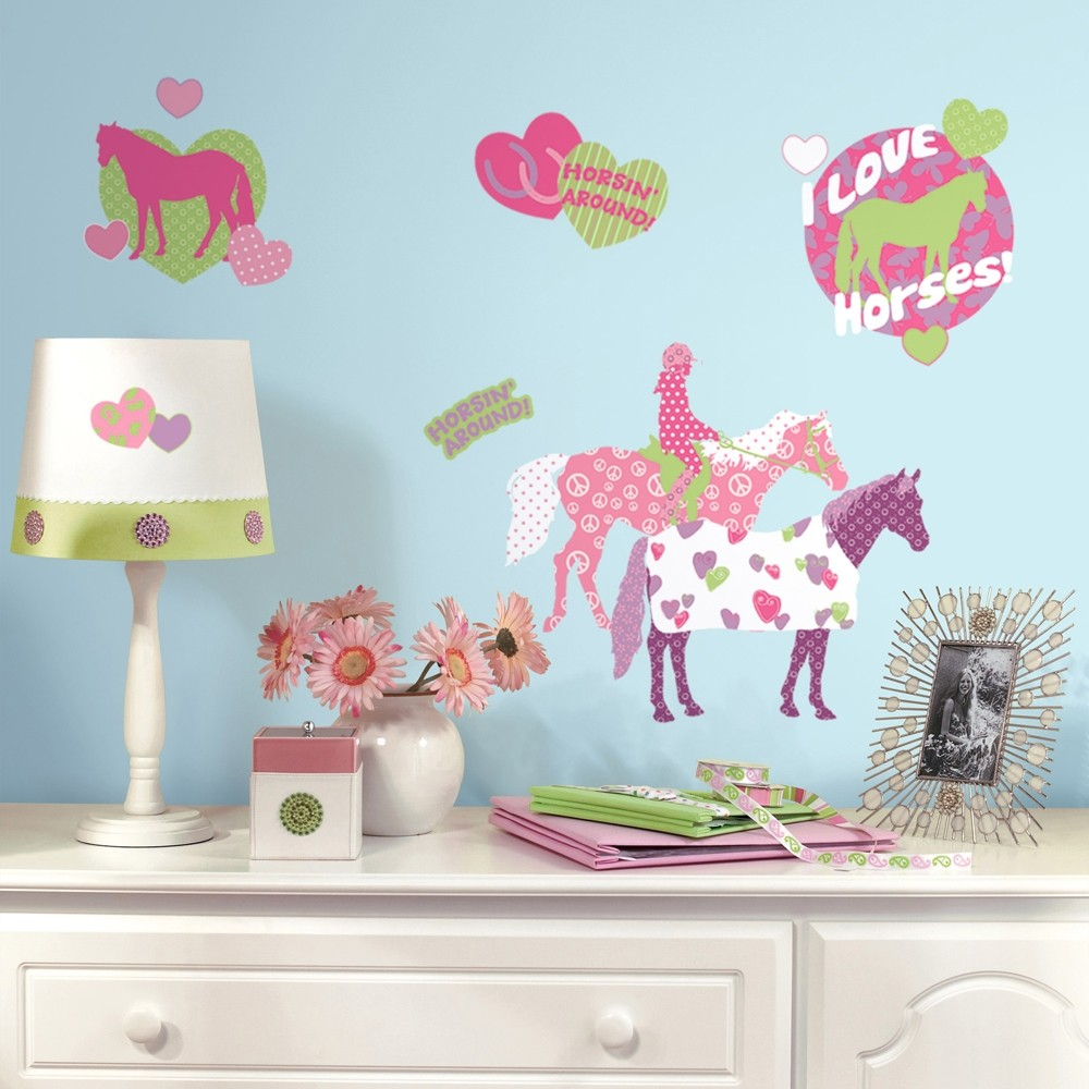 44 new horse crazy wall decals girls horses stickers pink. Black Bedroom Furniture Sets. Home Design Ideas