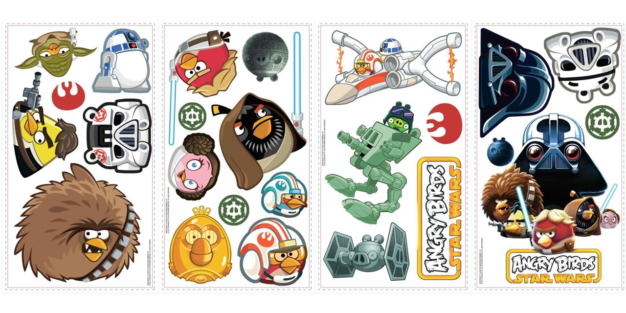Lego Star Wars Bedroom Furniture 2 New ANGRY BIRDS STAR WARS WALL DECALS Kids Bedroom Playroom Stickers ...