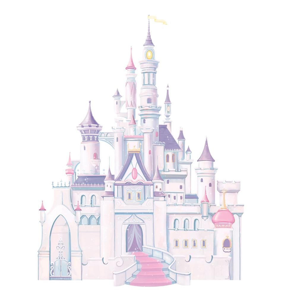 Disney giant princess castle wall mural stickers vinyl for Barbie princess giant wall mural