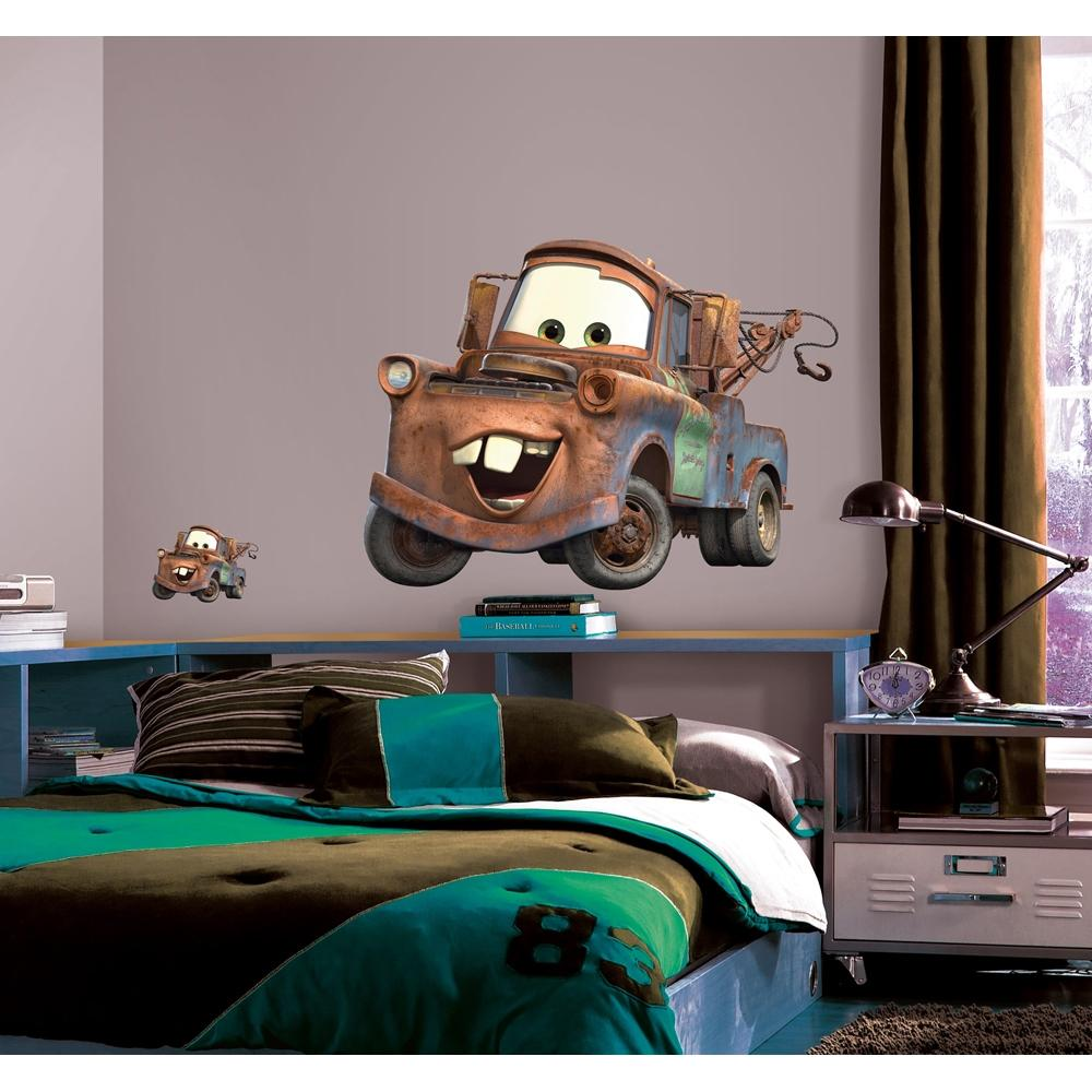 New giant mater wall decals disney cars tow truck bedroom for Disney cars wall mural