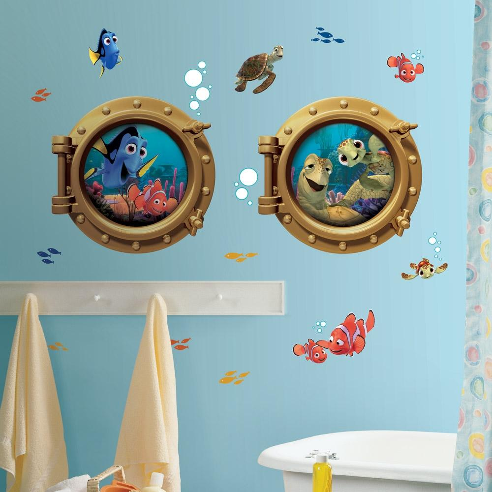 New giant finding nemo wall decals kids bathroom stickers disney room decor ebay - Finding nemo bathroom sets ...