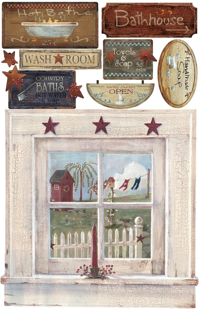 Photos Rustic Country Bathroom Rules Family Wall Home Decor Glass