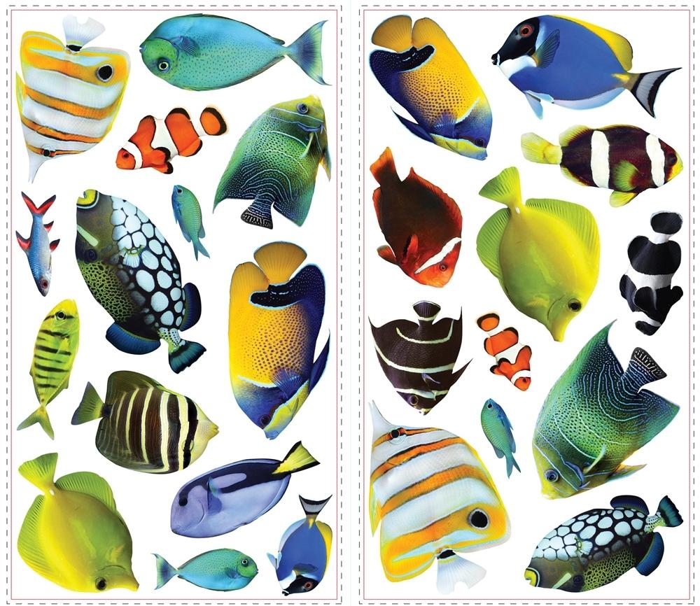 new tropical fish 3d lenticular portholes wall decals