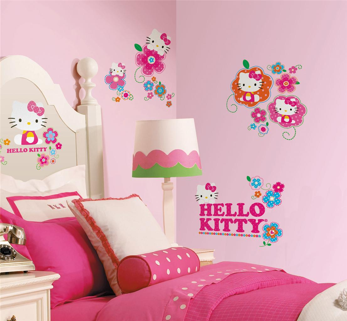 39 new hello kitty floral boutique wall decals girls for Floral bedroom decor