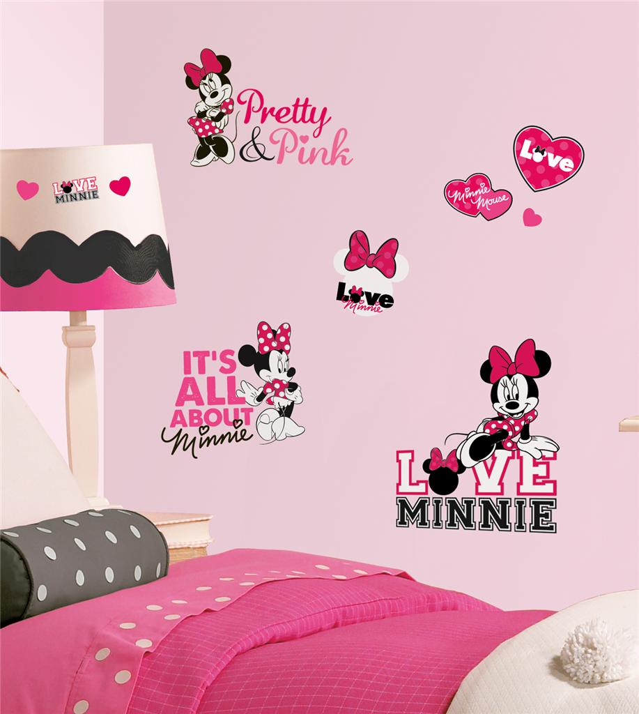 New disney minnie mouse loves pink wall decals black white for Pink wall art