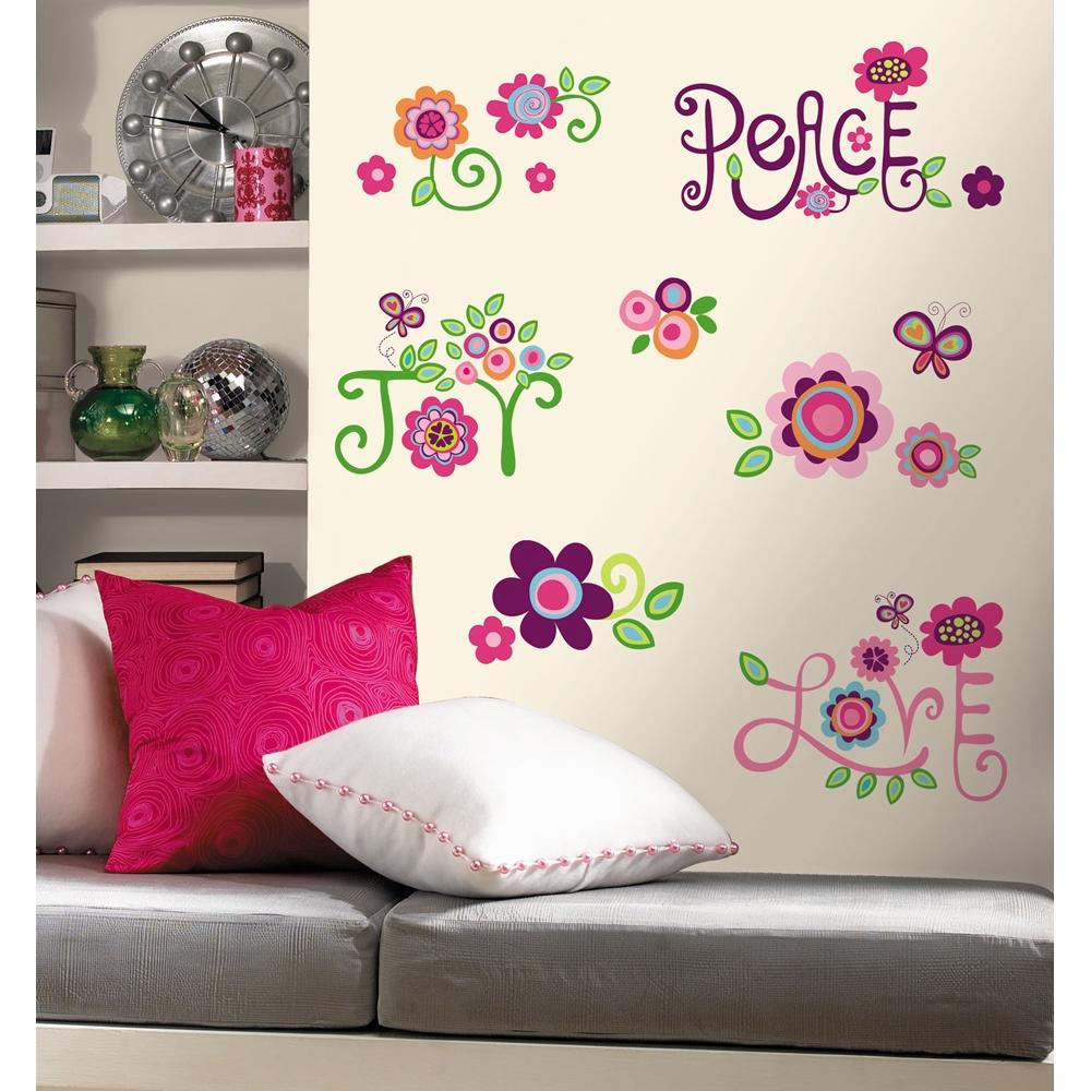 New love joy peace wall decals flowers stickers girls deco for Bedroom wall decals